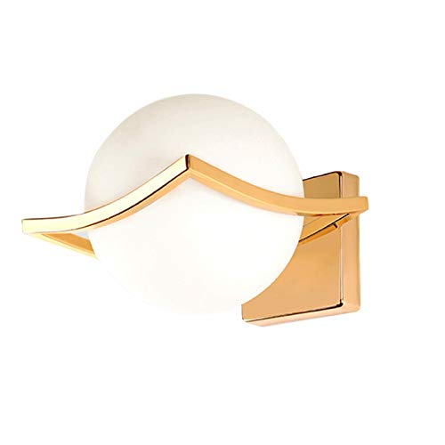 HJXDtech Glas Wandleuchte Moderne Einfache E27 LED Weiße Kugel Wandlampe für Nachttisch Wohnzimmer (Gold)