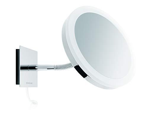 Nicol 4027000 SARA Kosmetikspiegel mit LED-Tageslichbeleuchtung, Wandspiegel 5-fach Vergrößerung beweglicher Schwanenhals