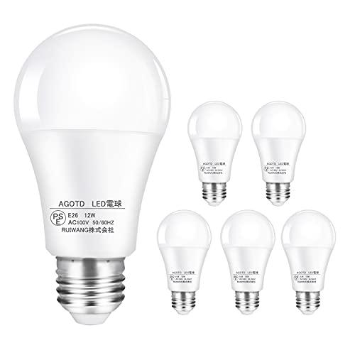 【Amazon限定ブランド】AGOTD LED電球 口金直径26mm 広配光 100W形相当 昼白色 6000K 6個パック 密閉器具対応 断熱材施工器具対応 省エネ PSE認証済み