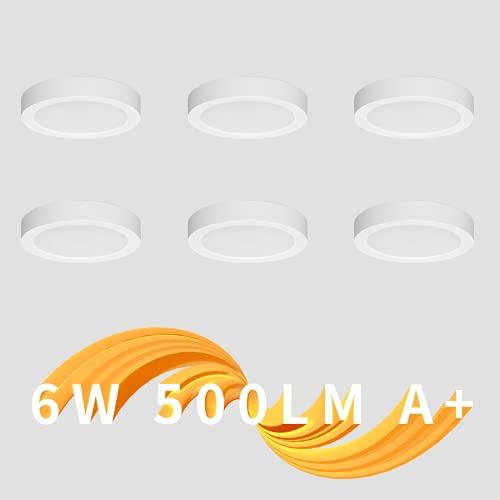 Eande 6x Plafón LED Techo Redondo 6W = 60 W Foco Interior Techo Superficie 220V Luz Blanca Cálida 3000K Lámparas Techo Moderna Downlight 500LM Panel No Regulable Para Cocina Salón Dormitorio Ø 123mm