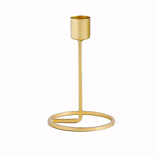 Cratone Kerzenständer aus Eisen mit einem Kopf geschmiedetem Eisen Kerzenständer Kerzenständer Kerzenständer Kerzenhalter Ornamente für Abendessen Hochzeit Party, gold, 9.5 * 15cm