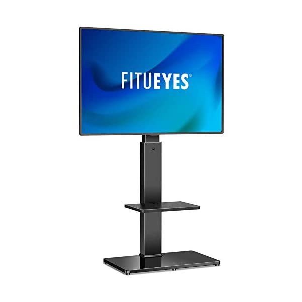 FITUEYES Swivel Floor TV Stand with Mount for 32-65 Inches Plasma LCD LED Flat or Curved Screen TVs, Universal TV Stands with Tempered Glass Base and Media Storage TT207001MB