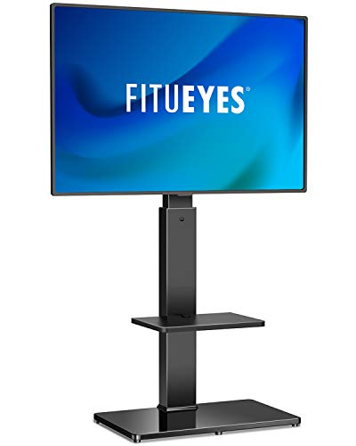 FITUEYES Swivel Floor TV Stand with Mount for 3265 Inches Plasma LCD LED Flat or Curved Screen TVs Universal Television Stands with Tempered Glass Base and Media Storage TT207001MB