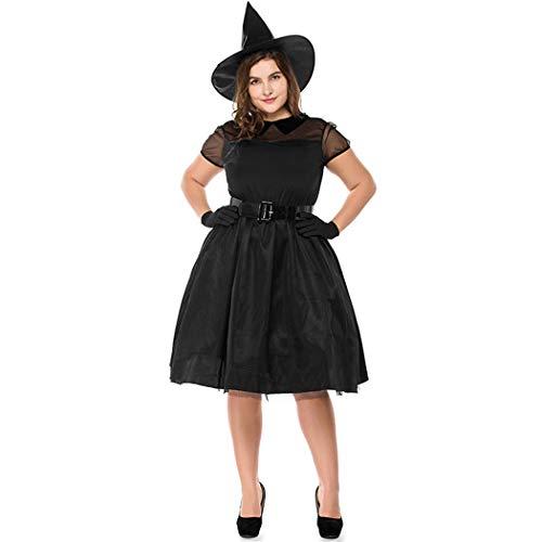 Jeff-chy halloween zwart gaas heks grote maat kleding heks kostuum heks heks nacht geest spel dragen vet man