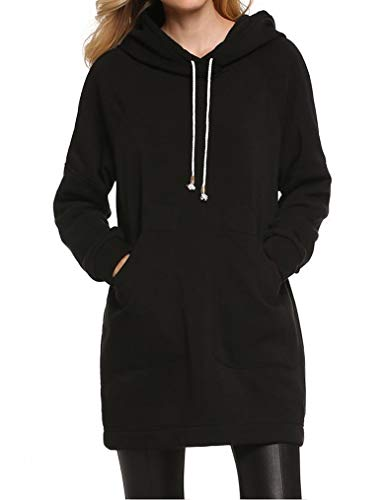 Qearl Ladies Drawstring Sweatshirts Hood Pullover Hoodie Dress Coat Outwear with Pockets(S, Black)