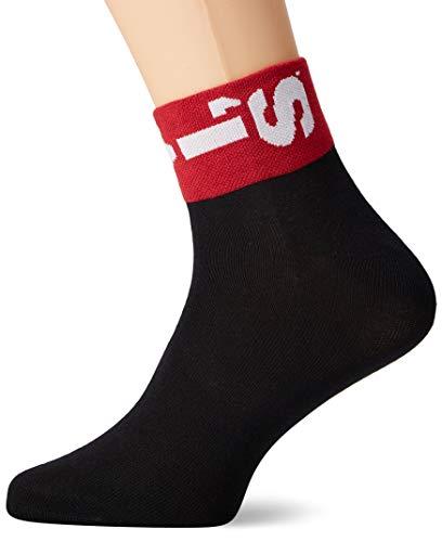 Levi's Herren LEVIS 168SF MID CUT LAZY TAB 2P Socken, Schwarz (Black 200), 39/42 (Herstellergröße: 039) (2er Pack)