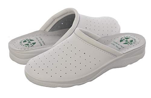 Chanclas sanitarias Hombre y Mujer, Zapatillas Profesionales Cerradas, Zuecos Sanitarios, Zapatos ortopédicos cómodos, Suela anatómica, Made in Italy Blanco Size: 41 EU