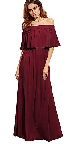 Milumia Women's Casual Off The Shoulder Layered Ruffle Party Wedding Bridesmaids Long Maxi Dress Burgundy Medium