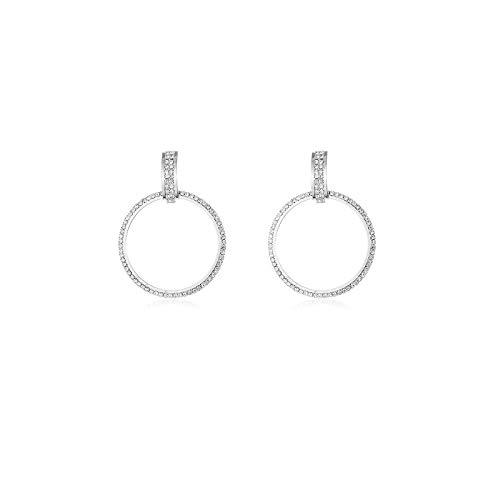 S925 aguja de plata moda exagerada círculo geométrico conjunto pendientes de diamantes pendientes de aleación femenina pendientes atmosféricos Aguja de plata: Plata