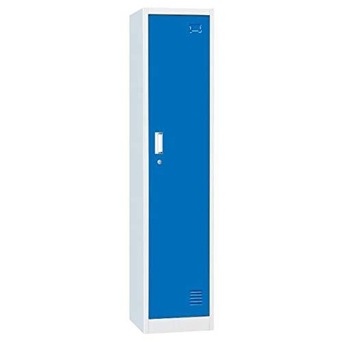Racking Solutions. Single Door Metal Storage Lockers, Blue & Grey Steel Lockable Unit, Staff Gym School Changing 1850mm H x 380mm W x 450mm D