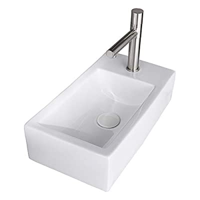 """VESLA HOME Commercial 18""""x10"""" Small White Ceramic Corner Wall Mount Bathroom Sink,Floating Tiny Porcelain Wall Hung Bathroom Sink Mini Rctangular Vanity Vessel Sink For Small Bathroom,Right Hand."""