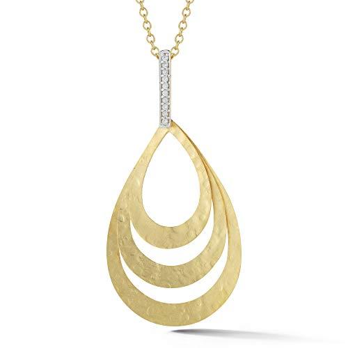 14K Yellow Gold 0.06ct TDW Diamond Accent Concentric Tear-drop Pendant Necklace (0.06 Ct Tdw Diamond)
