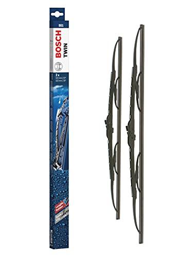 Bosch Balais d'essuie–glace plats conventionnel Twin 551, Longueur: 550mm/500mm – 1 paire de balais avant