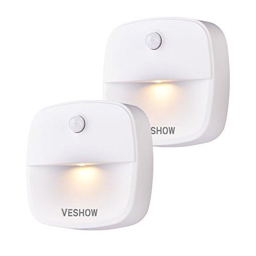 VESHOW Stick-On Night Light, Motion Sensor Night Light, Warm White LED, Bedroom, Closet, Kitchen, Hallway, Stairs, Energy Efficient, Compact, 2-pack