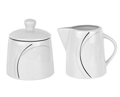 VAN WELL Café Complément Ensemble pot à lait & sucrier Phönix Porcelaine Blanc avec Décor