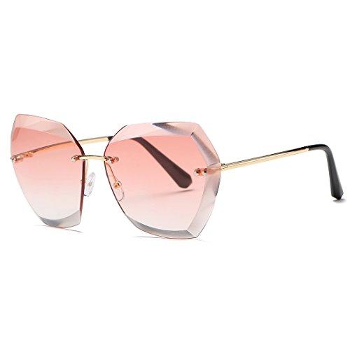 kimorn Sonnenbrillen für Frauen Übergroße randlose Diamant-Schneidlinse Klassisch Eyewear AE0534 (Gold&Rosa, 65)