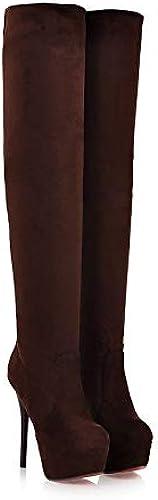 botas de Moda para mujer Tela elástica botas clásicas de otoño e Invierno Tacón de Aguja Punta rojoonda botas Sobre la Rodilla negro marrón Almendra Boda Fiesta y Noche,marrón,US9.5-10 EU41