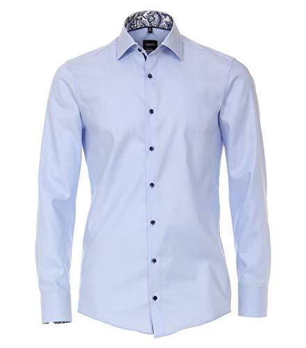 Venti Herren Businesshemden Uni Modern Fit Mittelblau 40