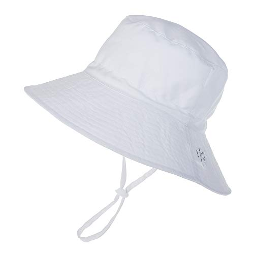 Baby Hut Sommer UV Schutz 50 Sonnenhut mit Verstellbarem Kinnriemen Breite Krempe Sommermütze Atmungsaktiver Niedlicher Muster Fisherhut Mädchen Junge Sommerhut, Weiß