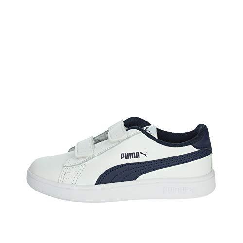 Puma Smash v2 L V PS, Unisex-Kinder Sneaker, Blau (PUMA WHITE-PEACOAT), 34 EU (1.5 UK)