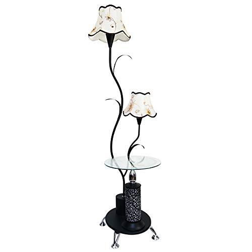 XUSHEN-HU Lámparas de pie LED nórdicas para sala de estar, luz creativa de mesa, dormitorio, mesita de noche, luz de pie para el hogar, soporte de luz moderna (color de la pantalla: negro)