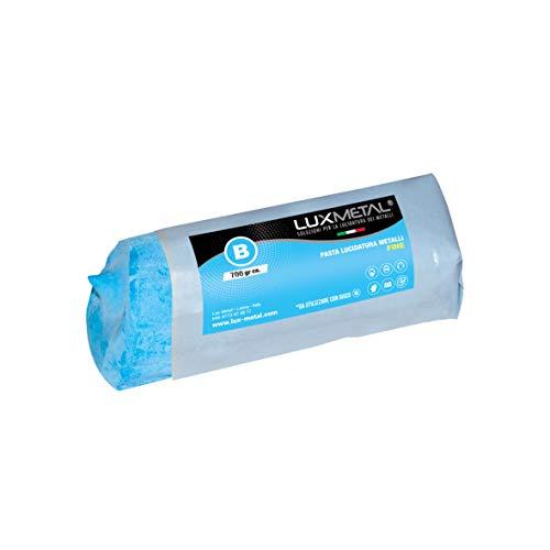 Pasta abrasiva lucidante solida Lux Metal B Blu Fine 700 grammi lucidatura per lucidare e pulire alluminio acciaio inox ottone rame bronzo ferro cromatura