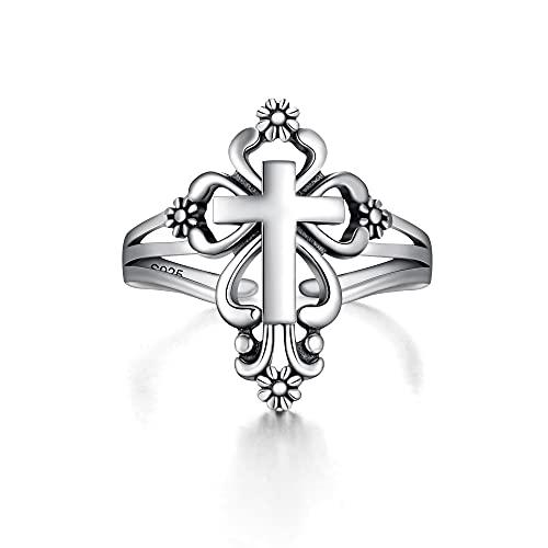 EVER FAITH Anillo de cruz para mujer, plata de ley 925, vintage, flor y cruz, anillo abierto, banda ancha para el dedo, joya religiosa