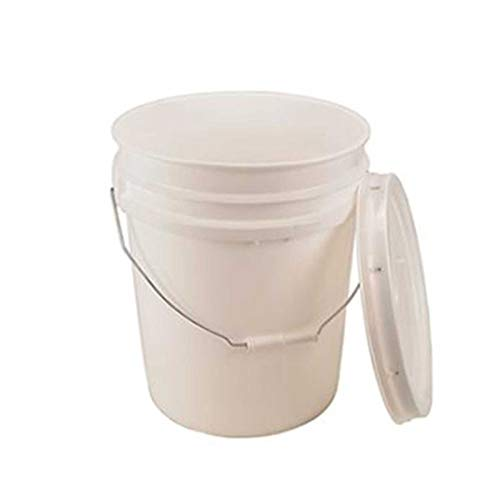 5 Gallon White Bucket & Lid - Durable 90 Mil All Purpose Pail - Food Grade - BPA Free Plastic (5 Gal. w/Lids - 6pk)