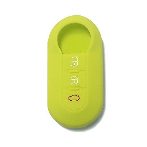 [Llavera] Carcasa de silicona para mando a distancia de coche Fiat Grande Punto Evo Panda Bravo Stilo 500 L y Lancia Delta Y Musa (ver compatibilidad en las fotos) 3 botones (verde)
