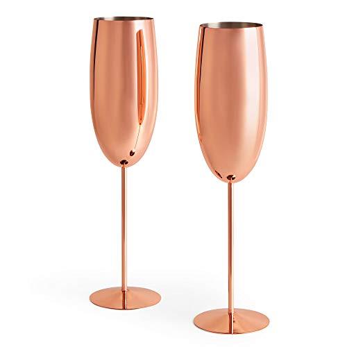 Beautify Sektgläser Champagnerflöten/Gläser Kupfer 2 Stück - Bruchsicherer Edelstahl Sektkelche