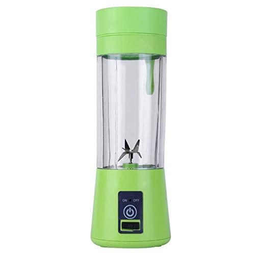 Gesh Batidora recargable USB de 380 ml, 6 cuchillas, exprimidor, botella de zumo, cítricos, limón, verduras, frutas, batido, exprimidores, escariadores, verde