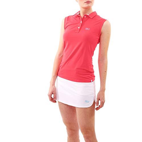 Sportkind polo senza maniche da donna e ragazza per tennis / golf / hockey, colore corallo, taglia XXL