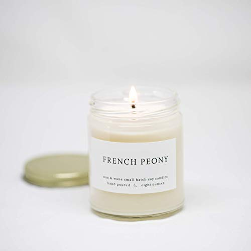French Peony 8 oz Scented Modern Soy Candle