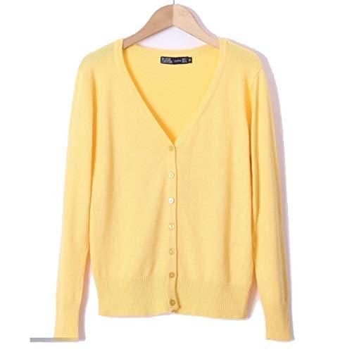 LIBILAA Mode voor vrouwen met V-hals gebreide jas licht vrij vooraan los gebreid vest Plus Size (kleur: Geel, Maat: M)