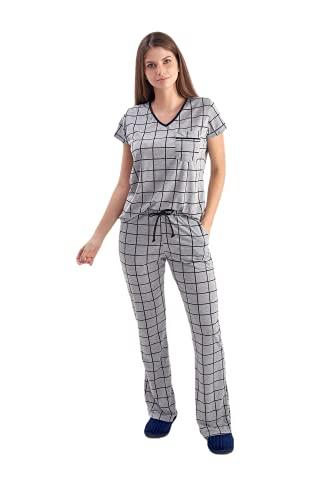 Pijama Feminino Meia Estação Xadrez Grid Manga Curta com Calça Flare