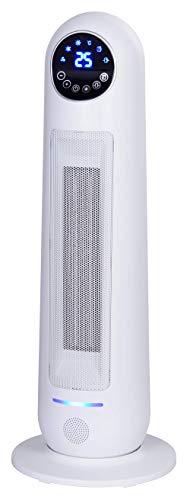 Ardes AR4P14W Yuki Termoventilatore Ceramico PTC a Torre Oscillante, 2 Potenze con Telecomando, Display Digitale, Maniglia e Timer 8 H, 2200 W, Bianco