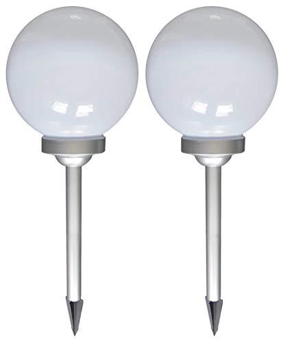 Bonetti 2-er Set LED Solar Kugelleuchte | Ø 30 cm | 4 weiße LED | Solarleuchte mit Erdspieß | Gartenleuchte Kugel | Garten-Deko (2)
