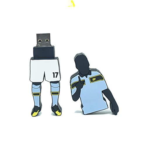 FOOTBALL USB - Chiavetta USB Drive 3.0 con forma di Ciro Immobile LIMITED EDITION Champions-Scarpa d'oro maglia Lazio da 32GB unità di memoria flash PenDrive alta velocità idea regalo Lazio