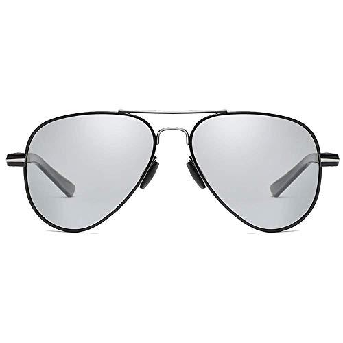 SSM Gafas de Sol Fashion Wild New Pc Material Policatura Polarizada Color Película Sunglasses Blackgold/Blacksier M Discolor Lens Men's Driving Gafasses viaje/Blacksilver