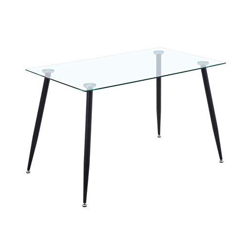 GOLDFAN Esstisch aus Glas Rechteckiger Moderner Esstisch Küchentisch Mit Metallbeine für Wohnzimmer Esszimmer Büro, Schwarz