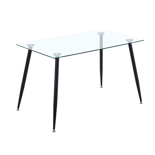 GOLDFAN Rechteckiger Esstisch Glas Moderner Küchen Esstisch Wohnzimmertisch Glastisch Mit Metallbeinen, Schwarz