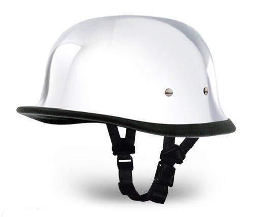 German Chrome Silver Novelty Skull Cap Half Helmet (Chrome, XL)