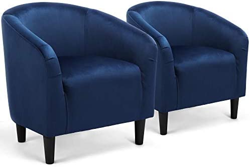 Best YAHEETECH Set of 2 Barrel Chair Velvet Accent Chair Club Chair Arm Chair Upholstered Mordern Chair N