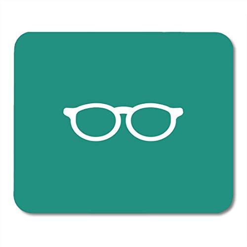 Mauspad, blaues Zubehör Weiße Flache Hipster-Brille Unisex Student Brille Einfache Bücherwurm Piktogramm dekorative Mausmatte für Tastatur Computer,25x30cm