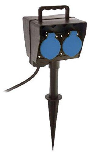 as - Schwabe vloerpen-verdelercontactdoos - 2-voudige veiligheidsstopcontacten 230 V/16 A met timer - stekkerdoos met 2 m rubberen kabel & veiligheidsklapdeksel - IP44 - zwart I 60685
