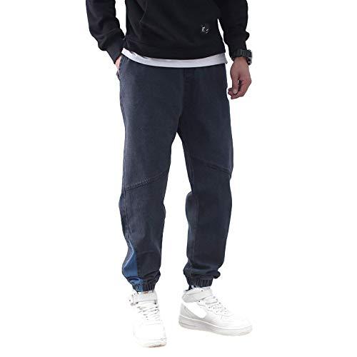 Pantalones Vaqueros Rectos para Hombre, Sueltos, de Gran tamaño, de Retazos, Color sólido, Hip Hop, Pantalones Harem de Mezclilla, Pantalones Cargo Casuales Resistentes al Desgaste XX-Large