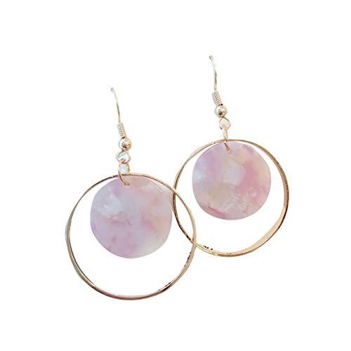 Boburyl Women Girls Pink Geometric Round Geometric Dangle Earring Marble Earring Hoop Ear Stud Pin Jewelry Gift