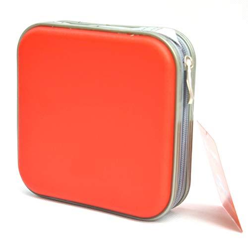 Yeqoo - Custodia portatile per CD, 40 dischi, DVD, VCD, DJ, custodia rigida a doppio lato per DVD (rosso)