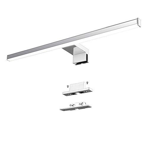Lampara LED de Espejo 10W 820LM Lampara de Bano Azhien, Blanco Neutro 4000K Lampara LED de Pared Luz de Pared IP44 230V Luz de Espejo de Bano de Acero Inoxidable 60cm