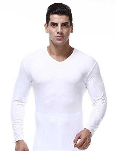 Bestgift Homme sous vêtement Thermique à Manche Longue XXXL Blanc